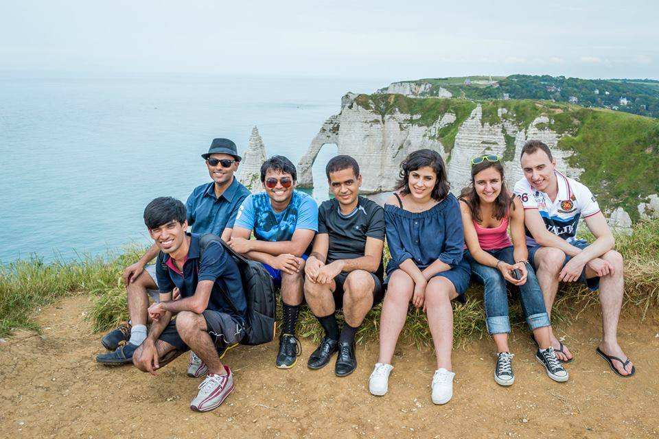 Siddharth and Vijay (leftmost) on a group trip to Etretat, France