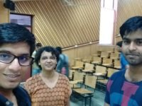 His last lecture at IITK. From left, Sourya Basu, Prof. Mohua Banerjee, Vibhor Verma